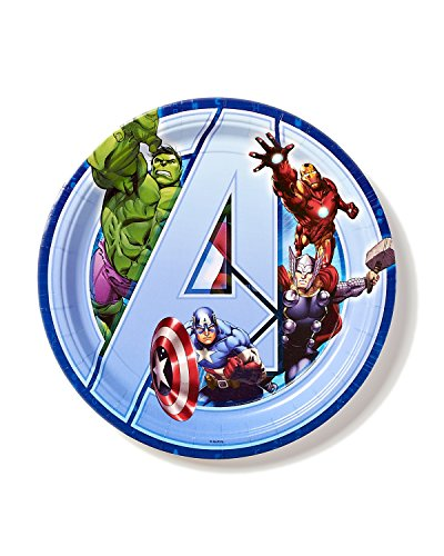 Marvel Avengers 9 in Round Plate, Pack of 8, Party Supplies