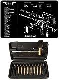 Ultimate Arms Gear Gunsmith & Armorer's Cleaning Work Tool Bench Gun Mat 1911 Pistol Handgun + Brass Hammer and Steel, Nylon & Brass Armorer Pin Punch Set