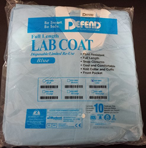 Full Length Disposable Lab Coat. BLUE. 10/pack. ... (Blue, Large) (Disposable Lab Coat Gown)