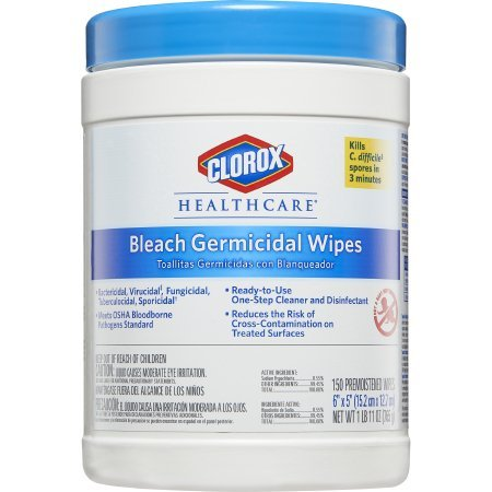 Clorox Healthcare Bleach Germicidal Wipes, 150 Count Canister ()