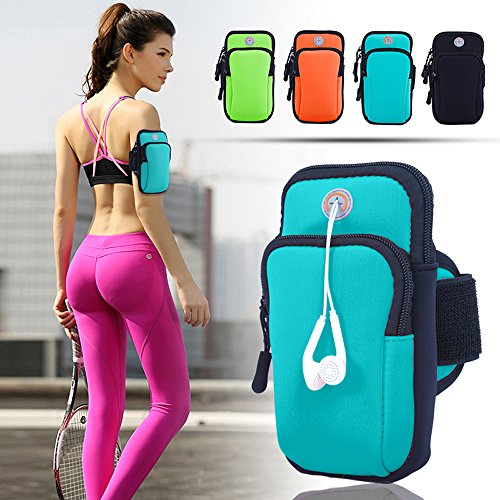 ANJ Outdoors Premium Elastic Running Armband for iPhone X, 8 Plus, 7, Galaxy Phones   Water Resistant   Large Capacity Upper Arm Band to Hold Money, Cards and Keys   Ideal Running Phone Holder (Blue)