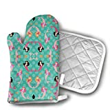 InsulatedMitt59 Mermaids Dance The Night Away Oven Mitts, Non-Slip Silicone Oven Mitts, Extra Long Kitchen Mitts, Heat Resistant to 572¡ãF Kitchen Oven Gloves