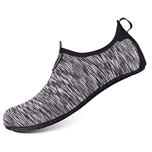 b5a936b8be549 HEETA Water Sports Shoes for Women Men Quick Dry Aqua Socks Swim Barefoot  Pool Beach Shoes for All Water Sport Gray_E L