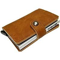 GingkoTree Credit Card Holder RFID Blocking Wallet Slim Wallet PU Leather Vintage Aluminum Business Card Holder Automatic Pop-up Card Case Wallet Security Travel Wallet (Light Brown)