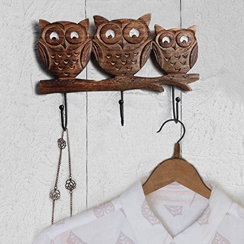 wooden owl wall hooks for dorm room