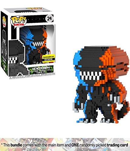 Funko Xenomorph (EE Exclusive): Alien x POP! 8-bit Horror Vinyl Figure + 1 Classic Horror & Sci-fi Movies Trading Card Bundle (Simpsons Halloween Aliens)