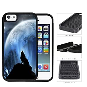 Wolf Howling On Hilltop With Full Moon 2-Piece Dual Layer High Impact Rubber Silicone Cell Phone Case Apple iPhone 5 5s