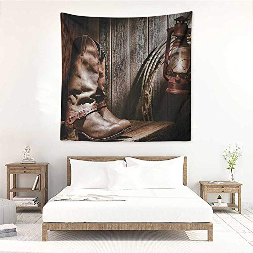 Western high-end Quality Tapestry Dallas Cowboys and Lantern on a Bench in Vintage Ranch Nostalgic Folkloric Photograph Home Decorations for Bedroom Dorm Decor 63W x 63L INCH Brown ()