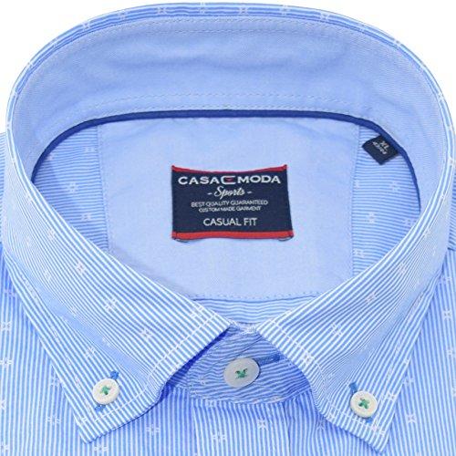 Casamoda Herrenhemd casualfit blau gestreiftes Hemd halbarm Button-Down Kragen mit Tasche Kollektion Size M