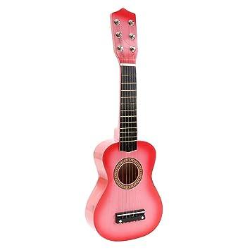 TOYMYTOY 21 pulgadas Guitarra acustica Pequeña guitarra de madera para niños infantil principiantes (Rosado): Amazon.es: Bebé