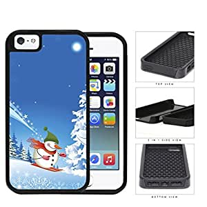 Cute Winter Wonderland Snowman Skiing down Snow Mountain iPhone 5 5s (2-piece) Dual Layer High Impact Cell Phone Case