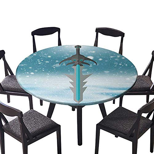 Round Fitted Tablecloth Arthas Menethil Cursed Sword with Skull Pattern Weapon of Evil Being Fantasy White for All Occasions 35.5