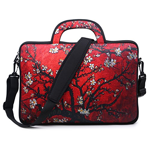 - Meffort Inc 15 15.6 inch Water Resistance Neoprene Laptop Bag Carrying Case Briefcase - Van Gogh Cherry Blossom