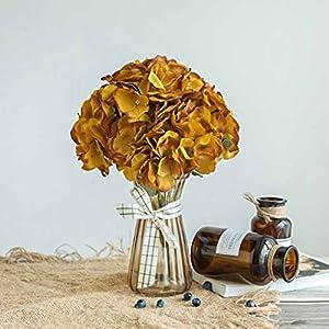 Efavormart 5 Pack | 25 Heads Gold Silk Hydrangea Artificial Flower Bushes Wedding Floral Arrangements