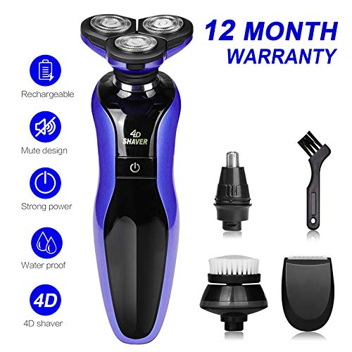 DAMONING Electric Shaver, 4D Rechargeable IPX7 Waterproof 4 in 1 Men s Rotary Shavers Wet and Dry Electric Shaving Razors with Pop-up Trimmer dpurple