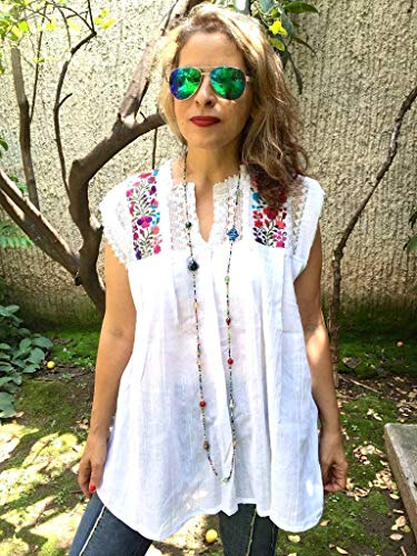 Women's Mexican Embroidered White Tunic Blouse Cover Up Plus Size (Whites Embroidered Tunic)