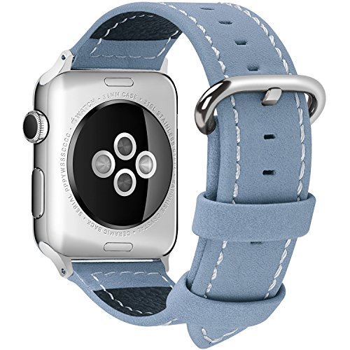 Apple Watch Band 38mm, Fullmosa Mosa Calf Leather Strap Replacement Band/Strap with Stainless Steel Clasp for Apple iWatch Series 1 & 2 Sport and Edition Versions 2015 2016, Sky Blue,38mm