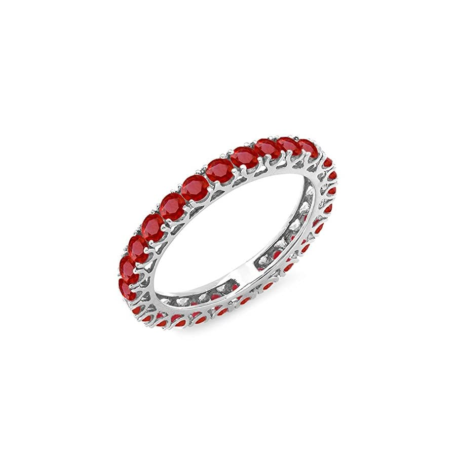 Dazzlingrock Collection 1.80 Carat (ctw) 10K White Gold Round Ruby Ladies Eternity Wedding Anniversary Stackable Band 1 3/4 CT