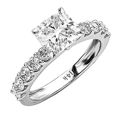 - 2 Ctw 14K White Gold Classic Side Stone Prong Set GIA Certified Diamond Engagement Ring Cushion Cut (1 Ct J Color VVS1 Clarity Center Stone)