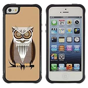 """Pulsar iFace Series Tpu silicona Carcasa Funda Case para Apple iPhone SE / iPhone 5 / iPhone 5S , Owl Branch Brown Big Eyes árbol del pájaro del bosque"""""""