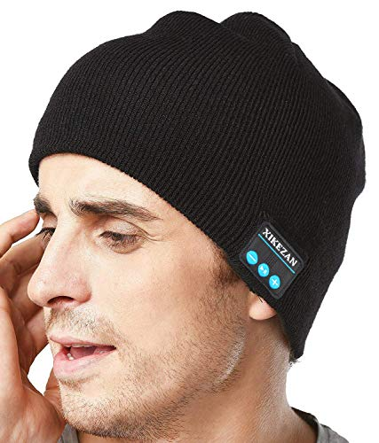 XIKEZAN Upgraded Unisex Knit Bluetooth Beanie Hat Headphones V4.2 Unique Christmas Tech Gifts for Men/Dad/Women/Mom/Teen Boys/Girls Stocking Stuffer w/Built-in Stereo Speakers (Black) (Best Christmas Ideas For Men)