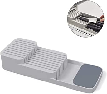 Kitchen Drawer Organizer Tray for Cutlery Utensil and Gadgets, Gray (Knives)