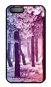 iPhone 5S Case, iPhone 5 Cover, iPhone 5S Smooth Rainbow Winter Forest Hard Black Cases
