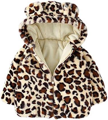 Boy Girl Baby Toddler Winter Add Wool Leopard Grain Hooded Outerwear Coat Jacket