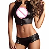 Jushye Sexy Lingerie Set 2 Piece Set Bandage Clubwear Stripper Patent Leather Underwear (Black, L)