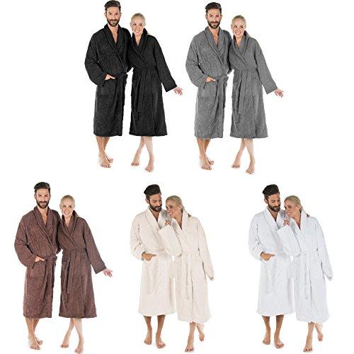 Flauschiger Bademantel für Damen & Herren   ca.480g/m² Baumwolle Frottee Morgenmantel mit Schalkragen   CelinaTex Oregon 0001261   L dunkel grau