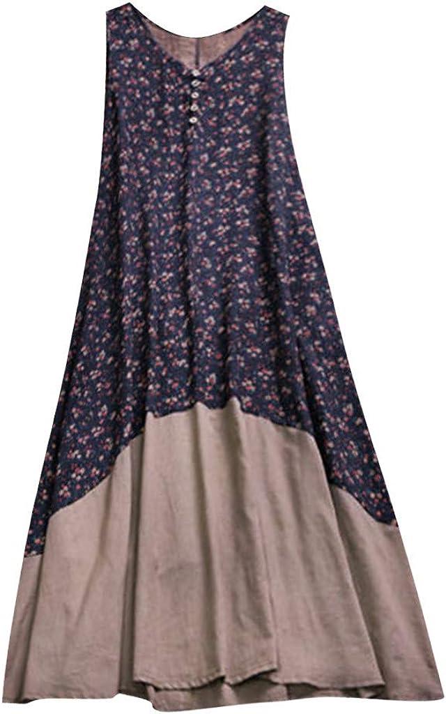 kingfansion Women Vintage Tank Dress Summer Casual Cotton Linen Plus Size Bohemian Maxi Dresses