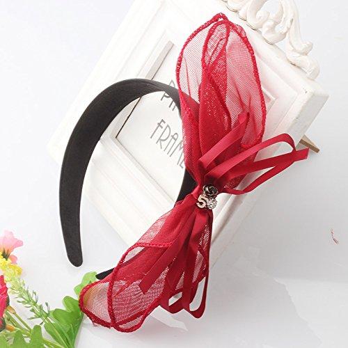 Pyrsun(TM) Girl Cute Sweet Big Ribbon Flower Lace Bowknot Five Hair Accessory Women Metal Floral Headband Ribbon Bow Crystal Headwear