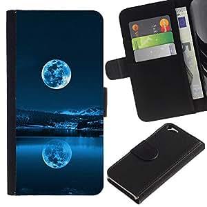 KLONGSHOP // Tirón de la caja Cartera de cuero con ranuras para tarjetas - AZUL LUNA LLENA - Apple Iphone 6 //