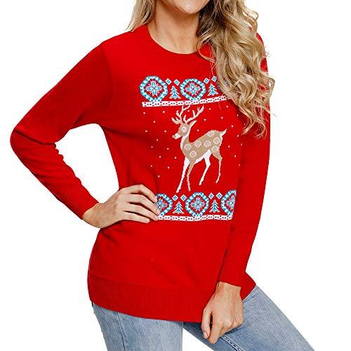 Women Christmas Xmas Deers Print Long Sleeve Blouse Shirt Top Pullover ()