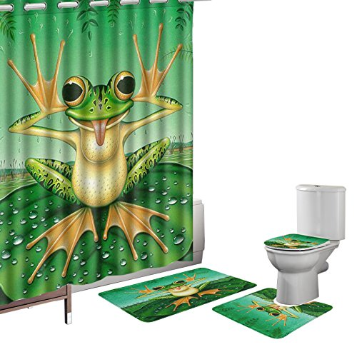(Amagical 16 Pieces Shower Curtain Set Bathroom Mats Set Non-Slip Rug Carpet Toilet Cover Shower Curtain Funny Frog Makes Face on The Green Lotus Leaf Cute Style with 12 Hooks)
