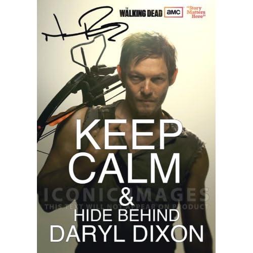 Amazon.com: The Walking Dead Tv Print (11.7 X 8.3) Signed (Pre-print Autograph) Daryl Dixon