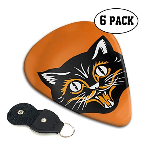 SLADDD1 Halloween Black Cat Face Fangs Classic Colorful Guitar Picks Plectrums for Electric Guitar, Acoustic Guitar, Mandolin, and Bass - 6 Pack -