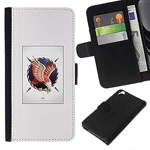 NEECELL GIFT forCITY // Billetera de cuero Caso Cubierta de protección Carcasa / Leather Wallet Case for HTC Desire 820 // Bald Eagle Hawk Crest