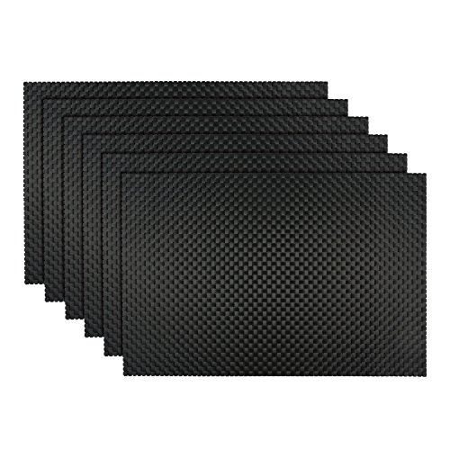 Emiica Woven Vinyl Placemats for Dining Table Set of 6 Black