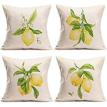 ShareJ Set of 4 Lemon Summer Outdoor Style Pillow Cover Home Decorative Cotton Linen Throw Pillow Case 18X18 Inch Square Cushion Covers (Summer Lemon)