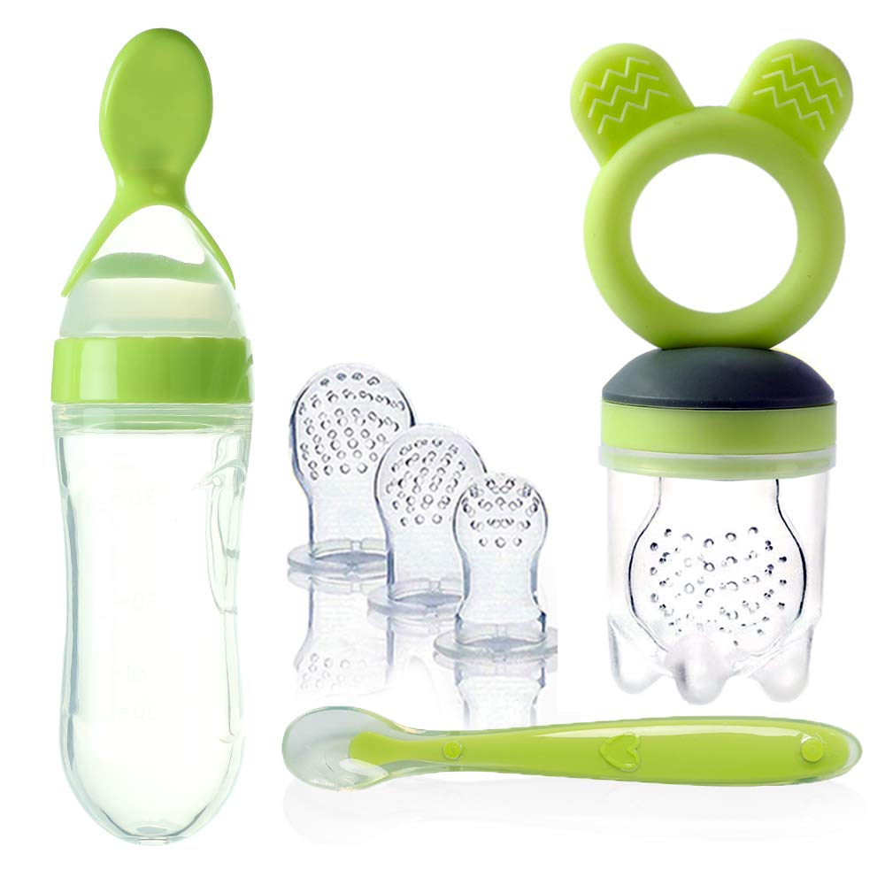 Baby Food Feeder, Pacifier Fruit- Fresh Frozen Fruit Pacifiers Nibbler Hygienic Cover Newborn with Meshes Sizes for Baby Food (Green)