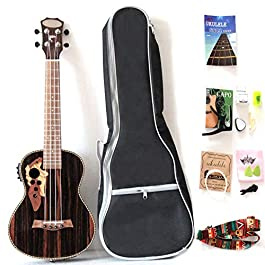 26 Inch All Blackwood Tenor Acoustic Electric Ukulele With Truss Rod With EQ with Gig Bag,Strap,Nylon String,Electric…
