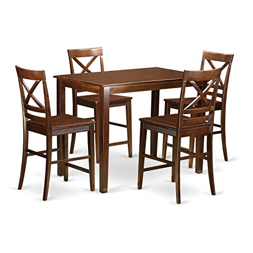 East West Furniture YAQU5-MAH-W 5 Piece Small Kitchen Table and 4 Counter Height Chairs - Brown 5 Piece Counter
