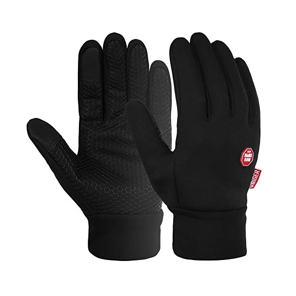 Vbiger Men Winter Warm Gloves Windproof Anti-slip Touch Screen Gloves Cold Weather Gloves Liner