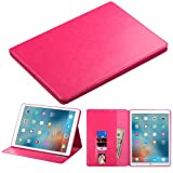 Ipad Pro Wallet Filp Case, BornTech PU Leather Fold stand Wallet pouch with Credit Card Slots Cover Case, For Apple Ipad Pro 12.9 inch Teblet (Pink Wallet Pouch)