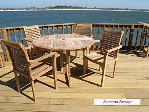 Amazon.com: Auténtica mesa redonda con 4 sillas de brazo ...