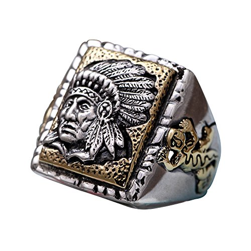 Two Tone 925 Sterling Silver Indian Chief Head Ring Jewelry for Men Women Adjustable Size 8.5-11