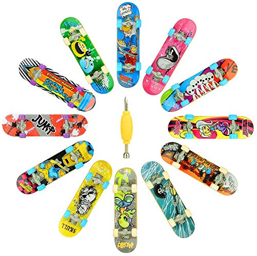 Finger Skateboards for Kids Set of 12, HOMETALL Mini Skateboard Fingerboards 12 Pieces Finger Toys Pack, Gifts for Kids Children Finger Skater