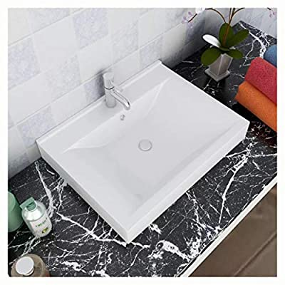 """HomyDelight Bathroom Sink, Luxury Ceramic Basin with Faucet Hole 23.6""""x18.1"""" White"""