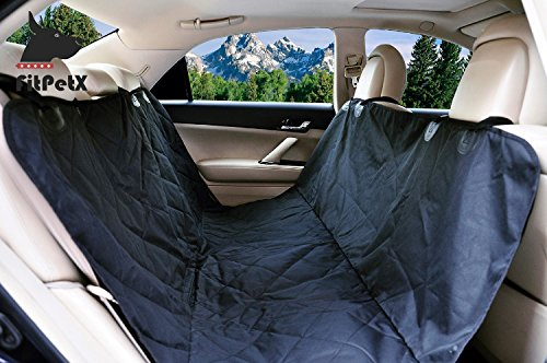 FitPetX Deluxe Waterproof Pet Seat Cover for Cars and SUV -Nonslip, Quilted, Extra Side Flaps, Machine Washable